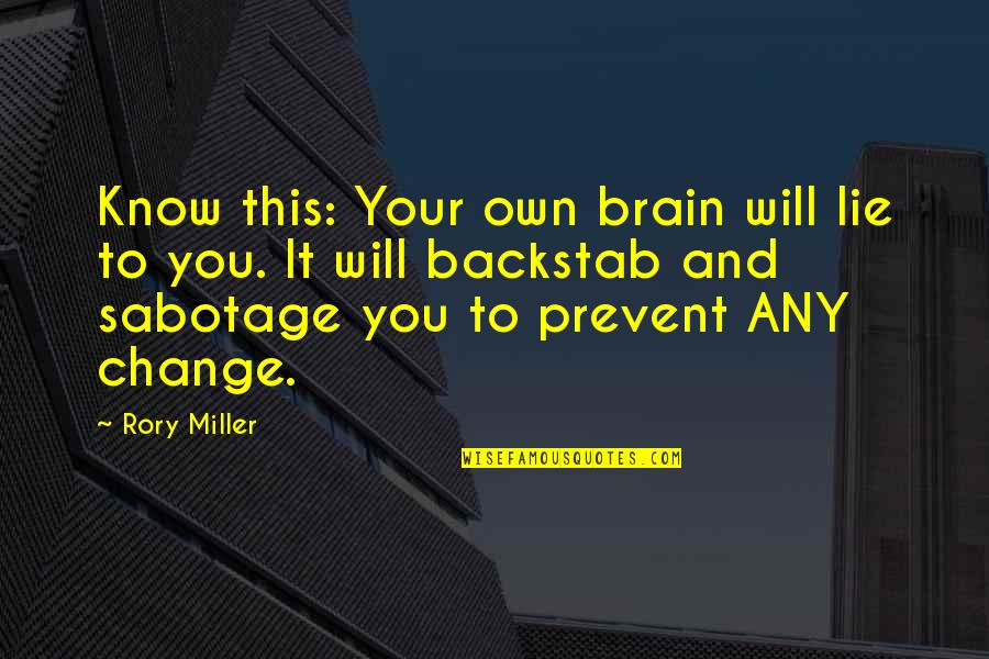Rory Miller Quotes By Rory Miller: Know this: Your own brain will lie to