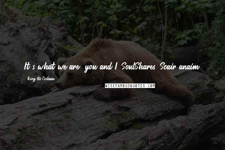 Rory Ni Coileain quotes: It's what we are, you and I. SoulShares. Scair-anaim.