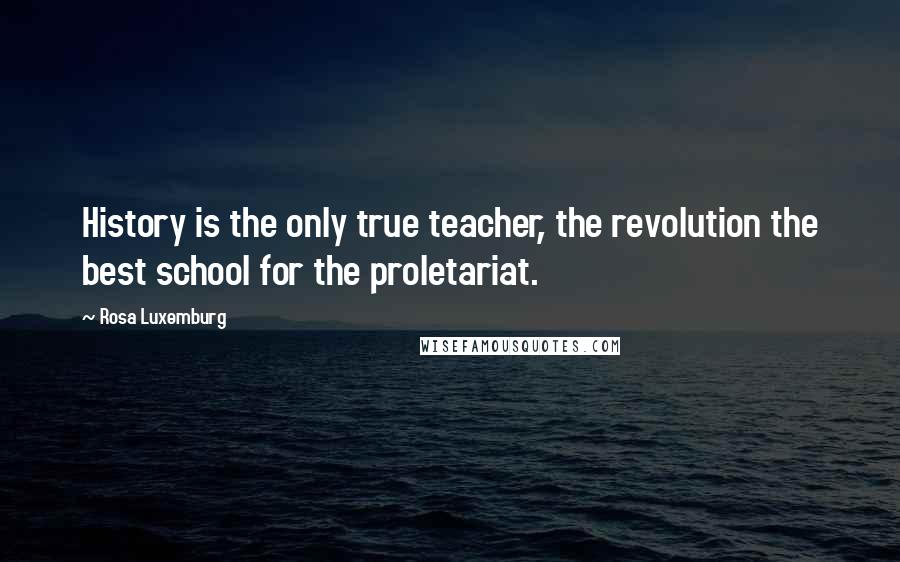Rosa Luxemburg quotes: History is the only true teacher, the revolution the best school for the proletariat.