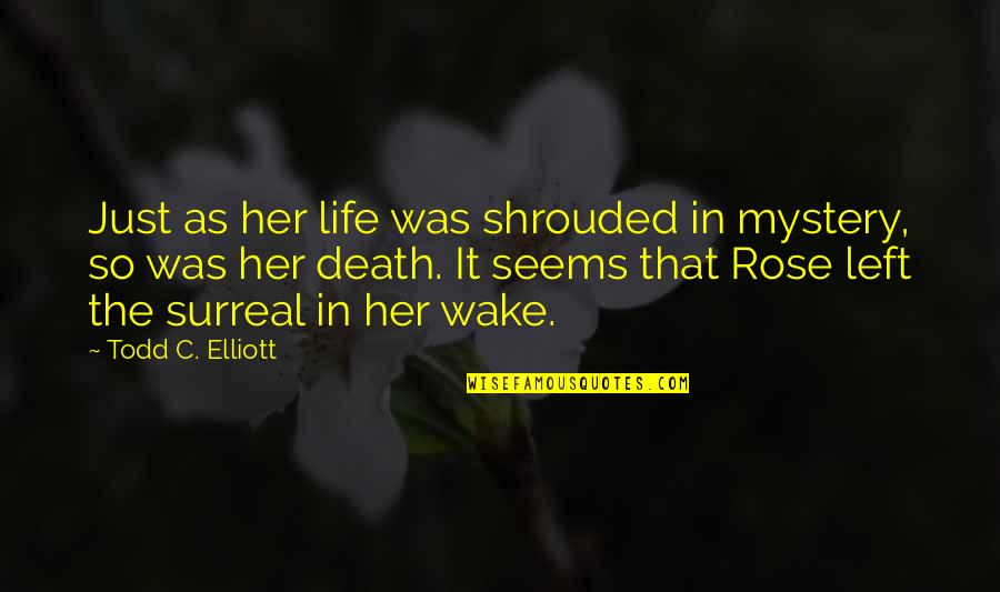 Rose And Death Quotes By Todd C. Elliott: Just as her life was shrouded in mystery,