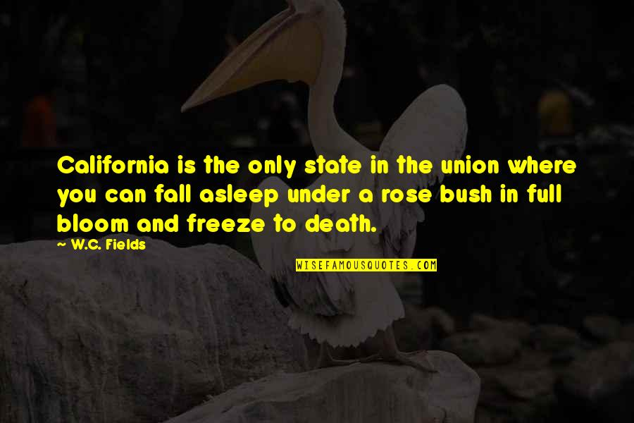 Rose And Death Quotes By W.C. Fields: California is the only state in the union