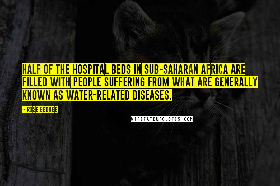 Rose George quotes: Half of the hospital beds in sub-Saharan Africa are filled with people suffering from what are generally known as water-related diseases.
