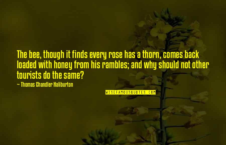 Rose With Quotes By Thomas Chandler Haliburton: The bee, though it finds every rose has