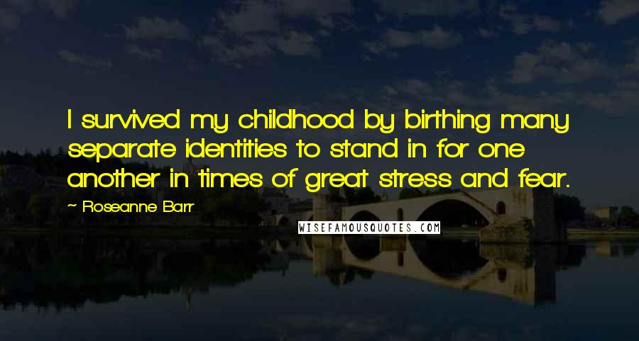 Roseanne Barr quotes: I survived my childhood by birthing many separate identities to stand in for one another in times of great stress and fear.