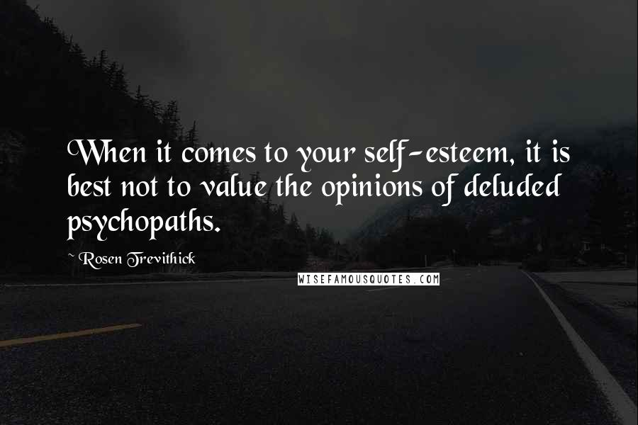 Rosen Trevithick quotes: When it comes to your self-esteem, it is best not to value the opinions of deluded psychopaths.