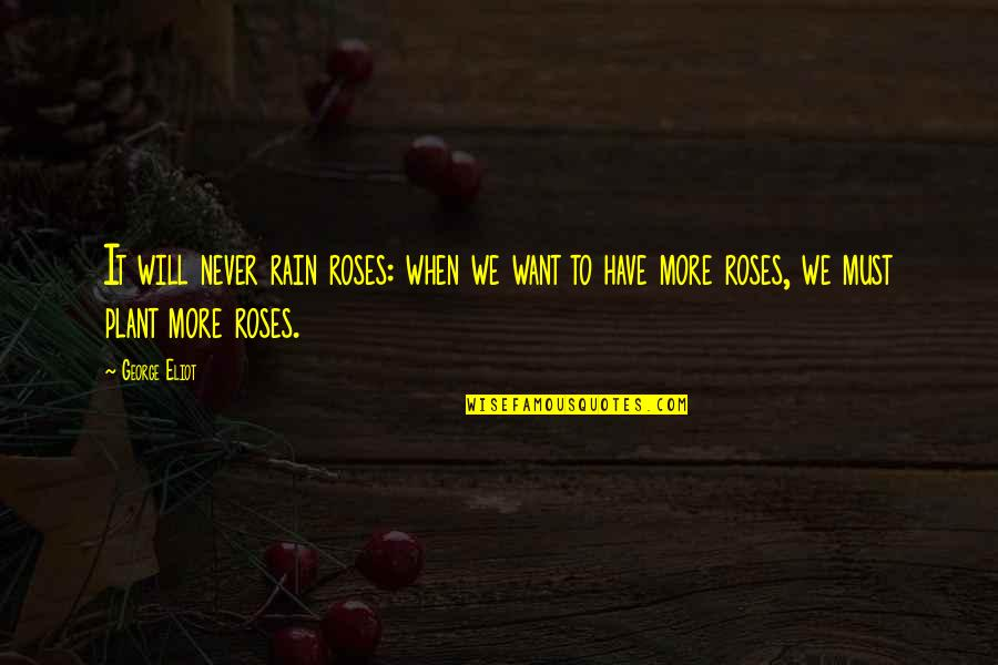 Roses And Rain Quotes By George Eliot: It will never rain roses: when we want