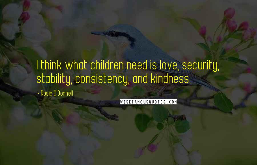 Rosie O'Donnell quotes: I think what children need is love, security, stability, consistency, and kindness.