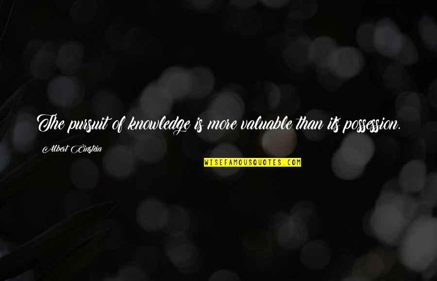 Rowf's Quotes By Albert Einstein: The pursuit of knowledge is more valuable than