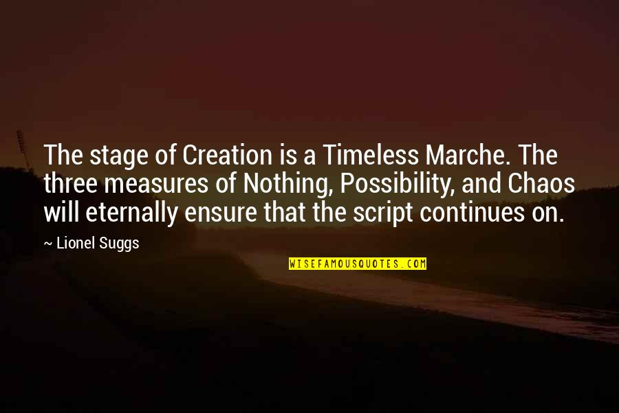 Rowf's Quotes By Lionel Suggs: The stage of Creation is a Timeless Marche.