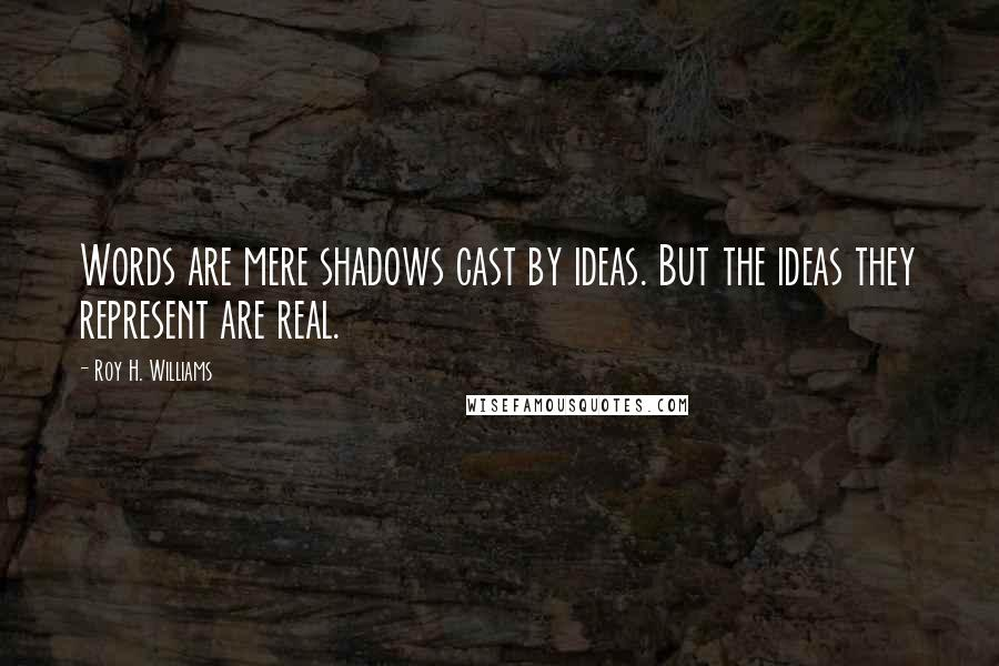 Roy H. Williams quotes: Words are mere shadows cast by ideas. But the ideas they represent are real.