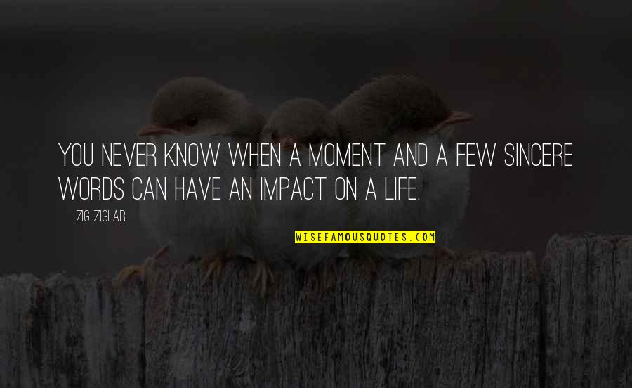 Rss Hindu Quotes By Zig Ziglar: You never know when a moment and a