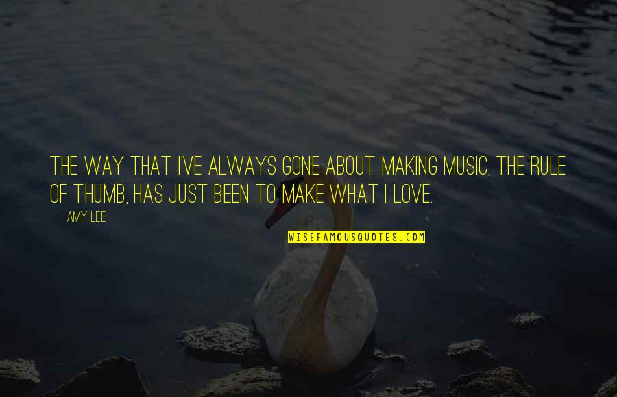 Rule Of Thumb Quotes By Amy Lee: The way that I've always gone about making