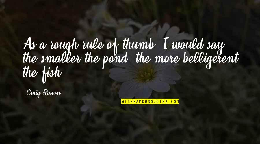 Rule Of Thumb Quotes By Craig Brown: As a rough rule of thumb, I would