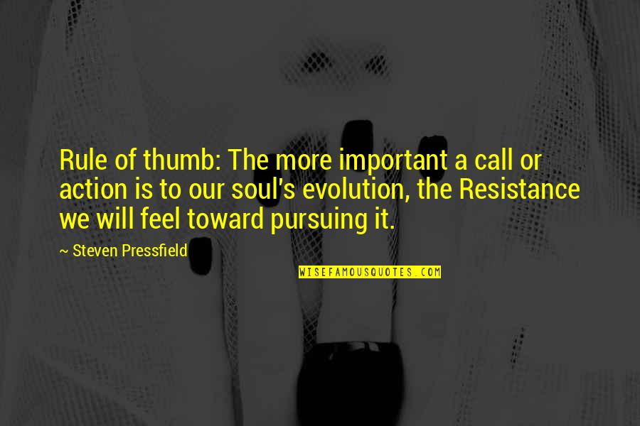 Rule Of Thumb Quotes By Steven Pressfield: Rule of thumb: The more important a call