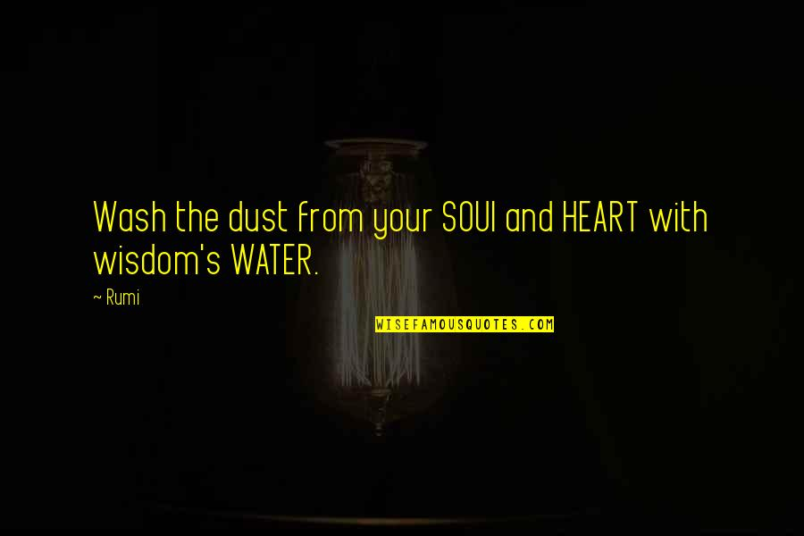 Rumi Quotes By Rumi: Wash the dust from your SOUl and HEART