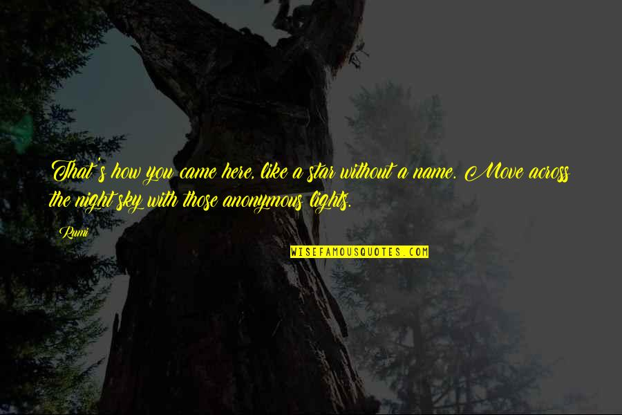 Rumi Quotes By Rumi: That's how you came here, like a star