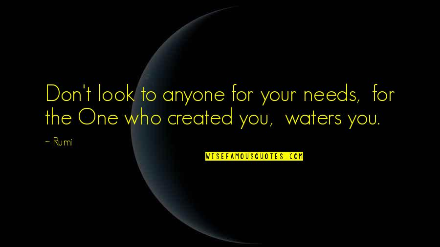 Rumi Quotes By Rumi: Don't look to anyone for your needs, for