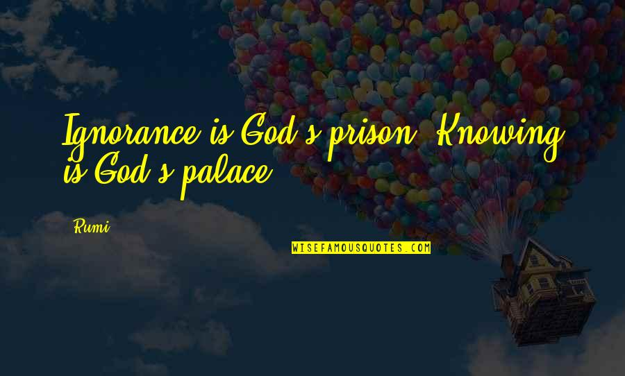 Rumi Quotes By Rumi: Ignorance is God's prison. Knowing is God's palace