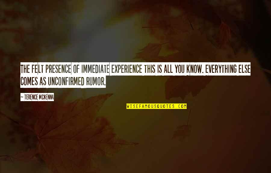 Rumor Quotes By Terence McKenna: The felt presence of immediate experience this is