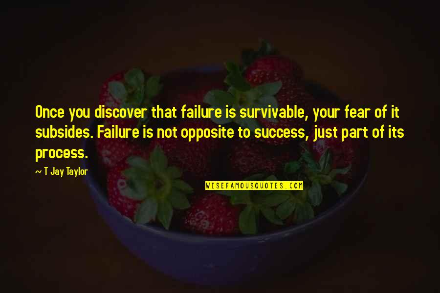 Run By Ann Patchett Quotes By T Jay Taylor: Once you discover that failure is survivable, your