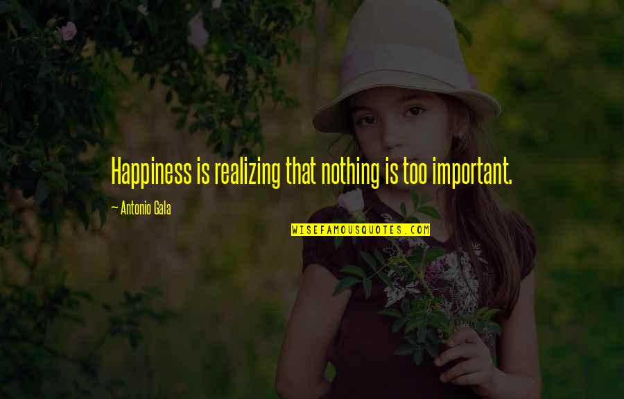 Runlet Quotes By Antonio Gala: Happiness is realizing that nothing is too important.