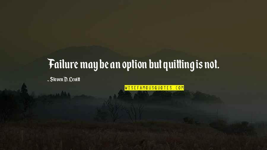 Running From Reality Quotes By Steven D. Levitt: Failure may be an option but quitting is