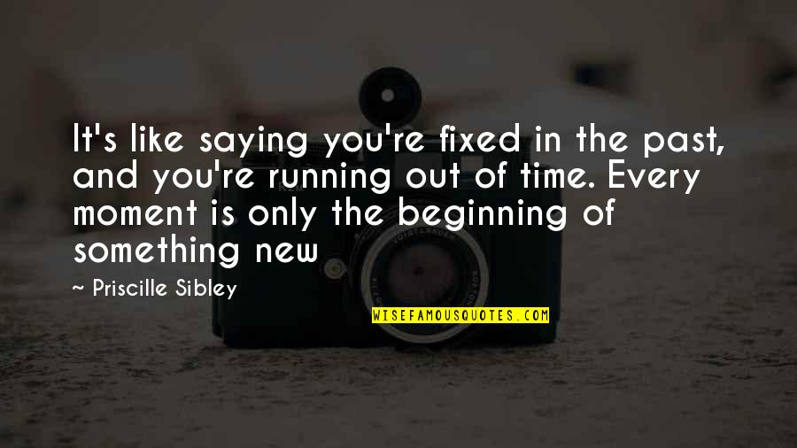 Running Out Of Time Quotes By Priscille Sibley: It's like saying you're fixed in the past,