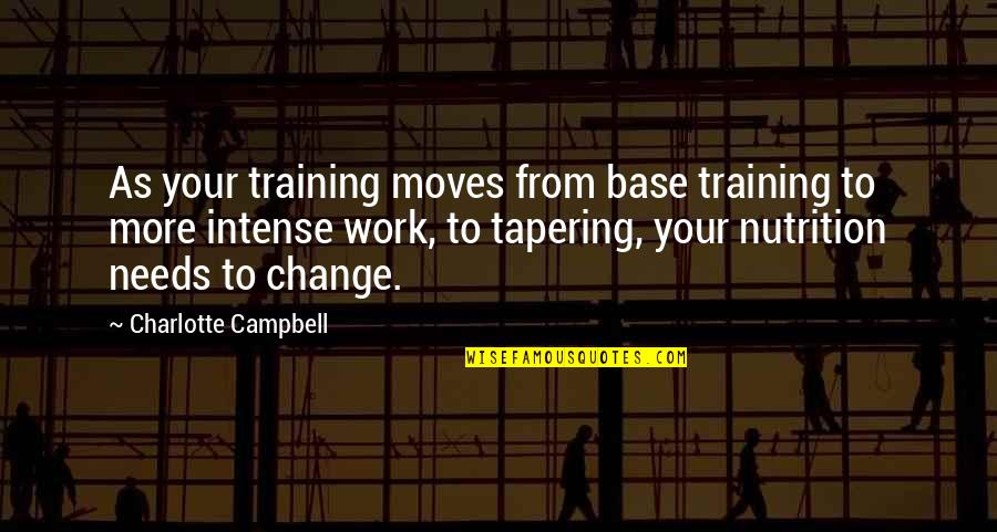 Running Training Quotes By Charlotte Campbell: As your training moves from base training to