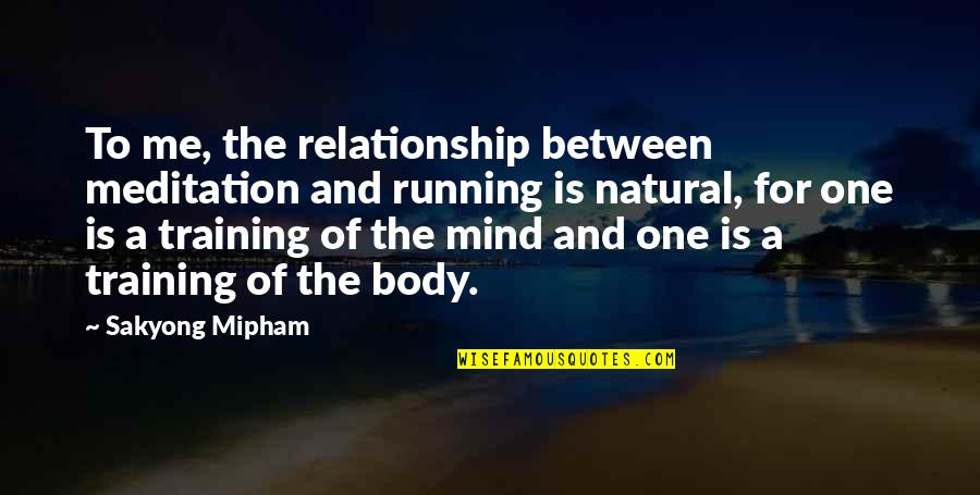 Running Training Quotes By Sakyong Mipham: To me, the relationship between meditation and running