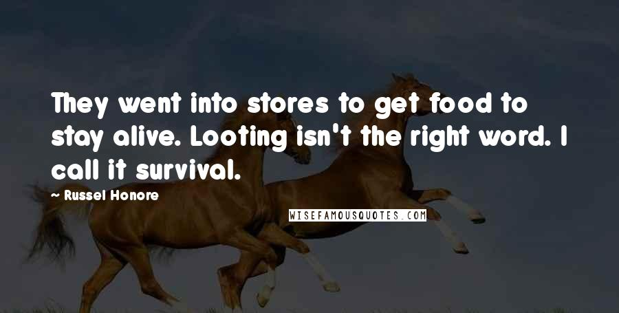 Russel Honore quotes: They went into stores to get food to stay alive. Looting isn't the right word. I call it survival.