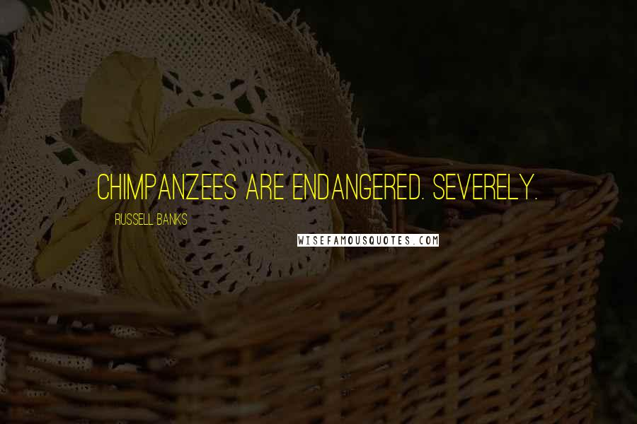 Russell Banks quotes: Chimpanzees are endangered. Severely.