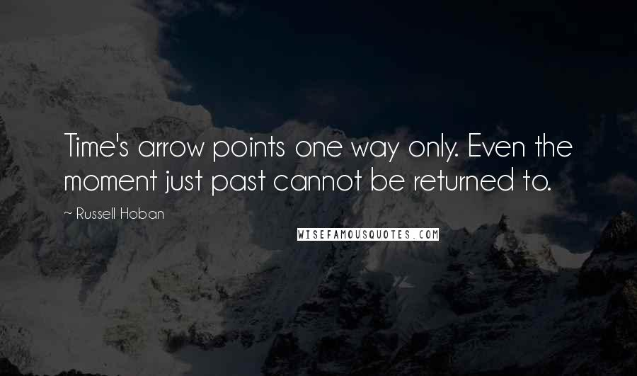 Russell Hoban quotes: Time's arrow points one way only. Even the moment just past cannot be returned to.