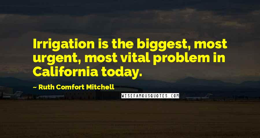 Ruth Comfort Mitchell quotes: Irrigation is the biggest, most urgent, most vital problem in California today.