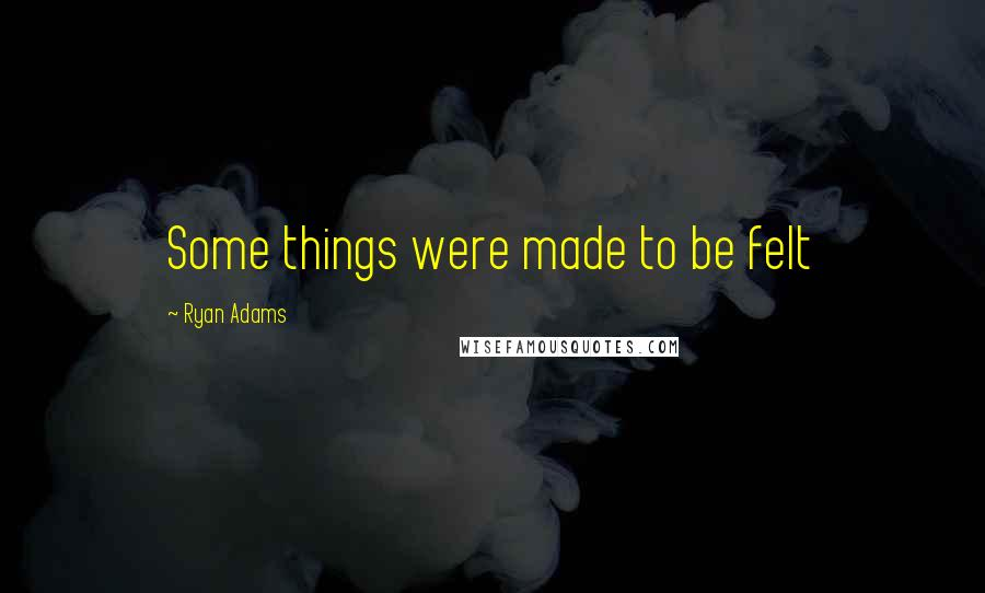 Ryan Adams quotes: Some things were made to be felt