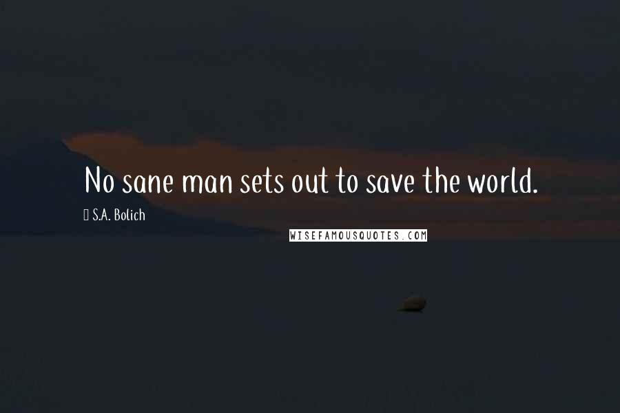 S.A. Bolich quotes: No sane man sets out to save the world.