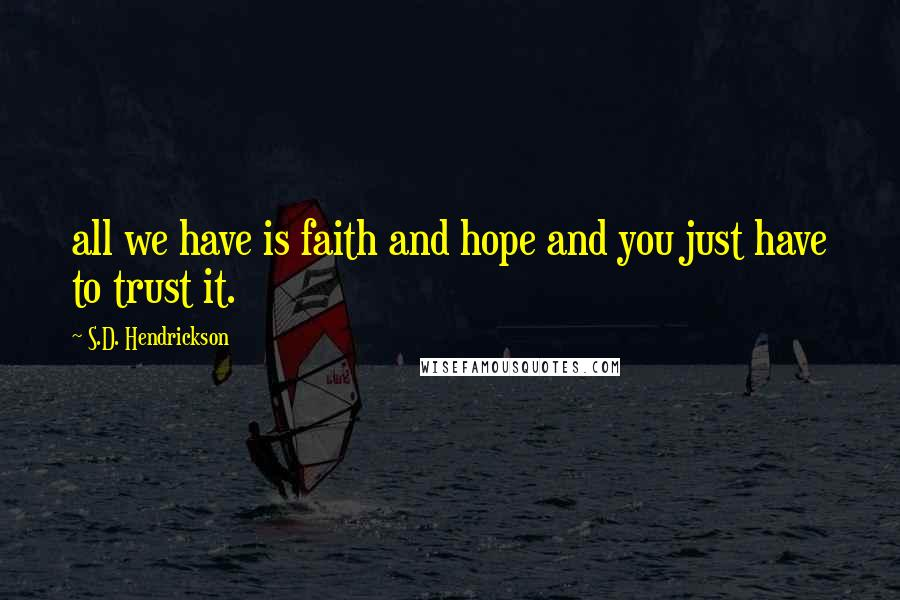 S.D. Hendrickson quotes: all we have is faith and hope and you just have to trust it.