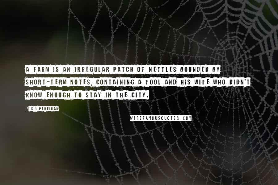 S.J Perelman quotes: A farm is an irregular patch of nettles bounded by short-term notes, containing a fool and his wife who didn't know enough to stay in the city.