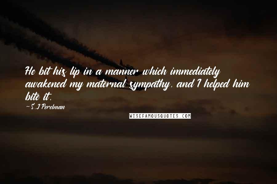 S.J Perelman quotes: He bit his lip in a manner which immediately awakened my maternal sympathy, and I helped him bite it.