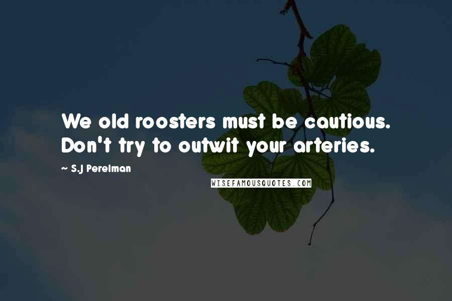 S.J Perelman quotes: We old roosters must be cautious. Don't try to outwit your arteries.