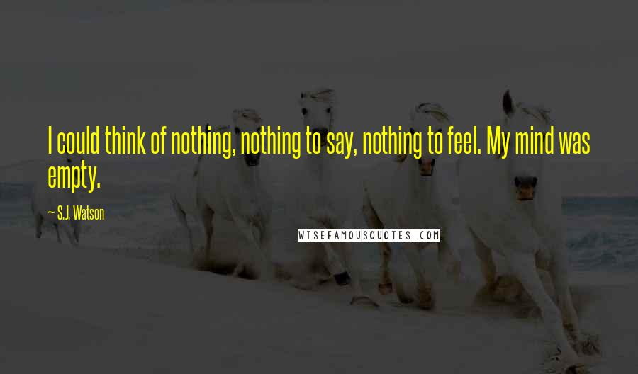 S.J. Watson quotes: I could think of nothing, nothing to say, nothing to feel. My mind was empty.