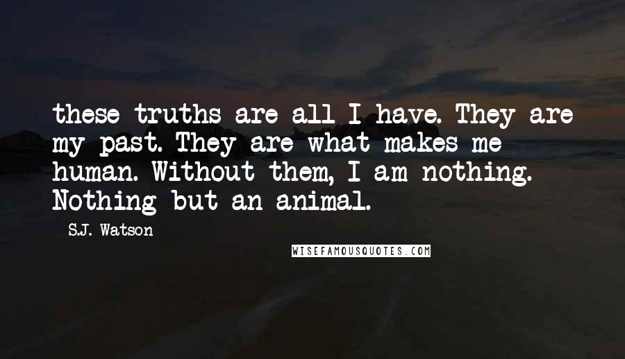 S.J. Watson quotes: these truths are all I have. They are my past. They are what makes me human. Without them, I am nothing. Nothing but an animal.