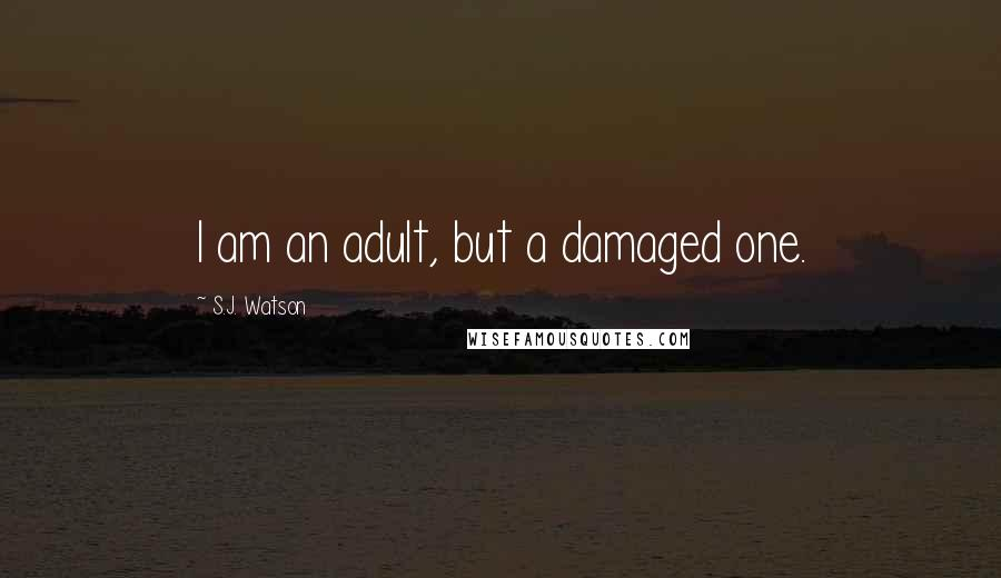 S.J. Watson quotes: I am an adult, but a damaged one.