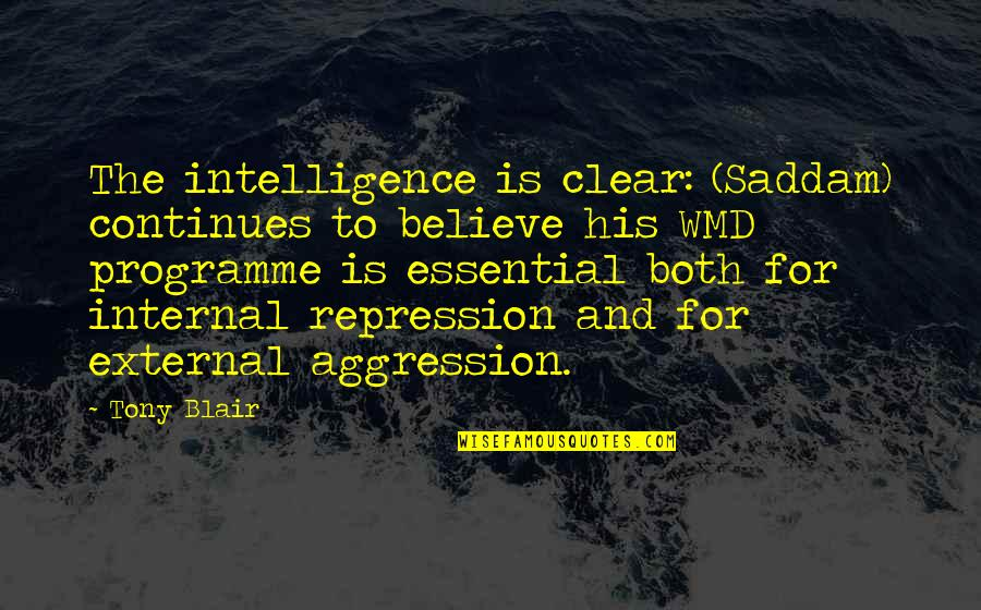 Saddam Quotes By Tony Blair: The intelligence is clear: (Saddam) continues to believe