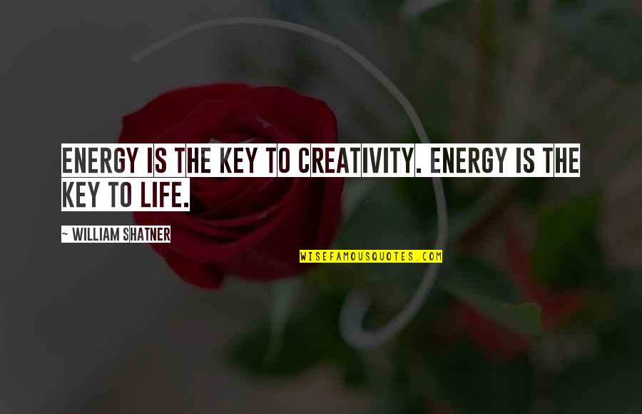Safe And Sound Capital Cities Quotes By William Shatner: Energy is the key to creativity. Energy is