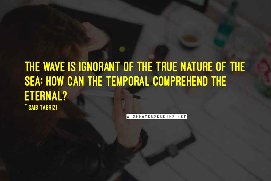 Saib Tabrizi quotes: The wave is ignorant of the true nature of the sea: how can the temporal comprehend the eternal?