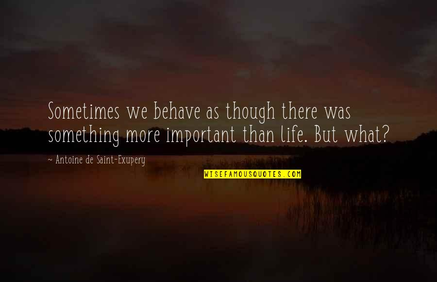 Saint Quotes By Antoine De Saint-Exupery: Sometimes we behave as though there was something