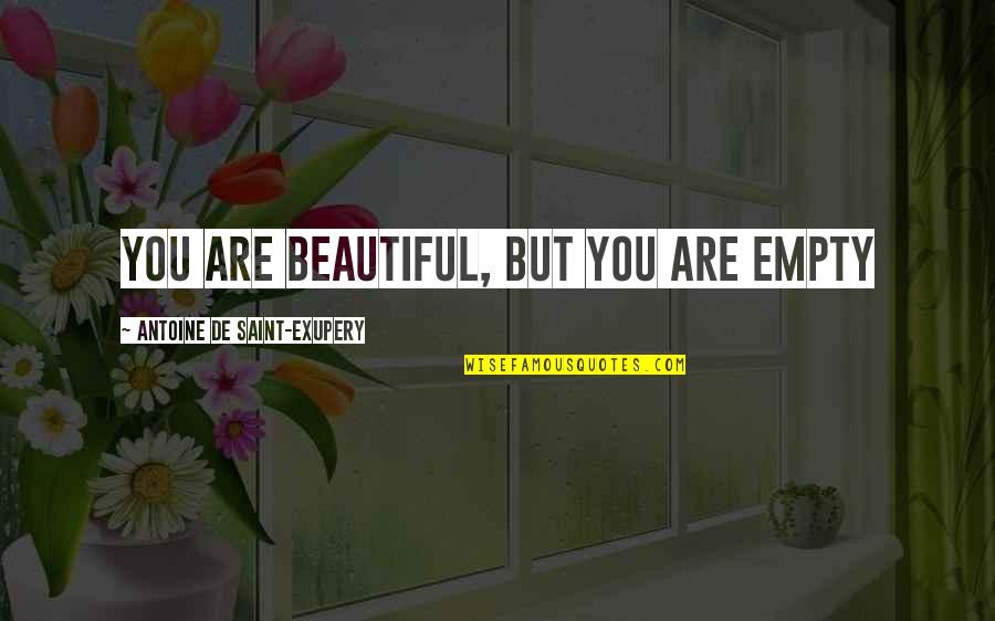 Saint Quotes By Antoine De Saint-Exupery: You are beautiful, but you are empty