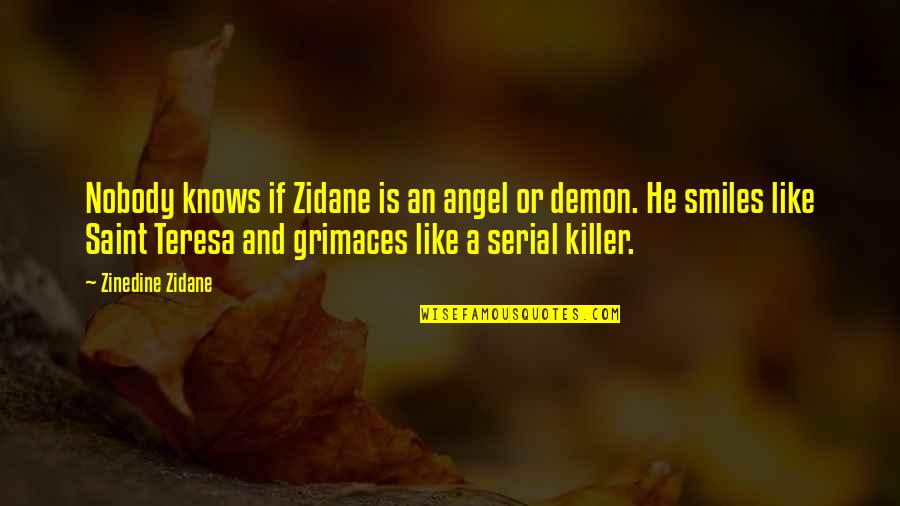 Saint Quotes By Zinedine Zidane: Nobody knows if Zidane is an angel or