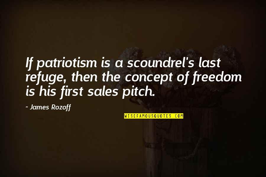 Sales Pitch Quotes By James Rozoff: If patriotism is a scoundrel's last refuge, then