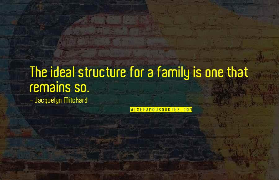 Salim Quotes By Jacquelyn Mitchard: The ideal structure for a family is one